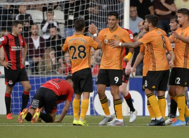 Jimenez celebrates Wolves' third goal.