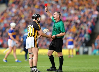 Hogan was given his marching orders in the first half on Sunday.