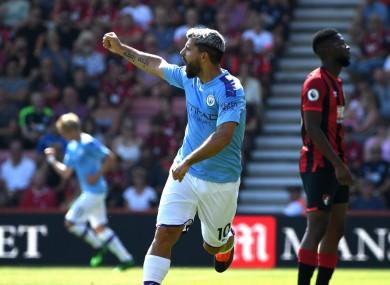 Sergio Aguero celebrates at Bournemouth