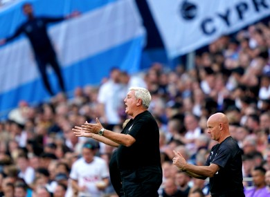 Steve Bruce gestures during his side's win against Spurs today.