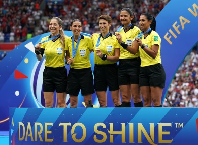 O'Neill (centre), Frappart (second left) and Manuela Nicolosi (left) will officiate in the Uefa Super Cup.