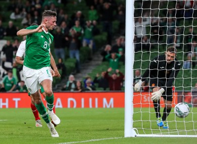 Ireland's Alan Browne scores his side's first goal.