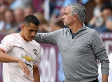 Jose Mourinho and Alexis Sanchez (file pic).