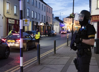 Armed gardai on the streets of Longford in June.