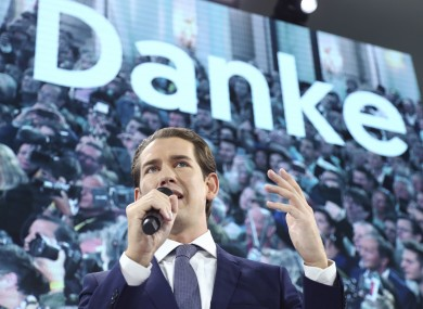Sebastian Kurz talking to supporters yesterday.