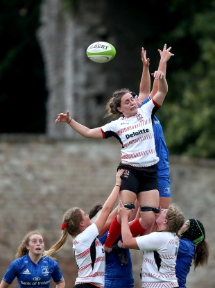 Cregan challenges for a line-out against Daisy Earle of Leinster