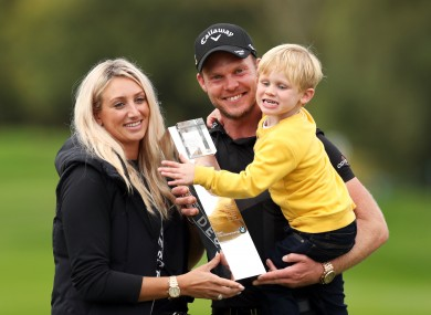 England's Danny Willett, his wife Nicole and son Zachariah James with the trophy.