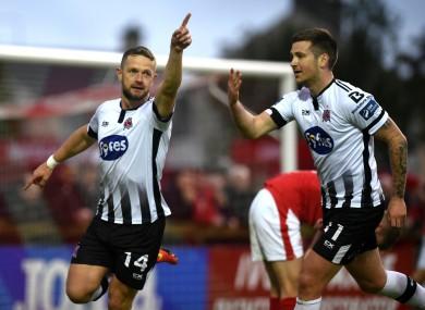 Dane Massey celebrates after scoring a goal for Dundalk.