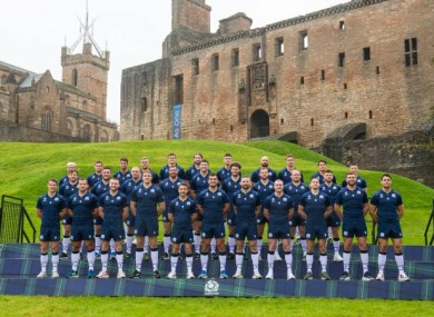 The Scotland squad pose at Linlithgow Palace.