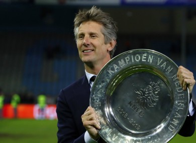 Ajax's Edwin van der Sar with the Eredivisie trophy.