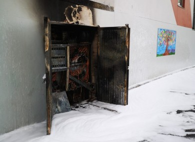 The electrical junction box that caused the fire.