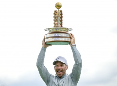 Casey celebrates his 14th European Tour title win.