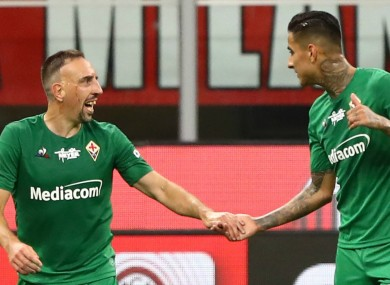 Franck Ribery celebrates for Fiorentina.