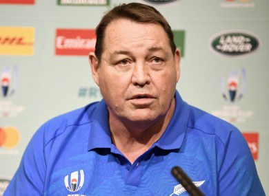New Zealand's coach Steve Hansen speaks during a press conference.