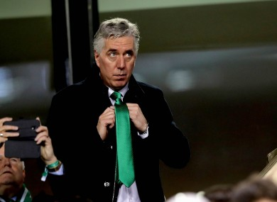 John Delaney, pictured at Ireland's Euro 2020 qualifier against Georgia in March in his capacity as Executive Vice-President.