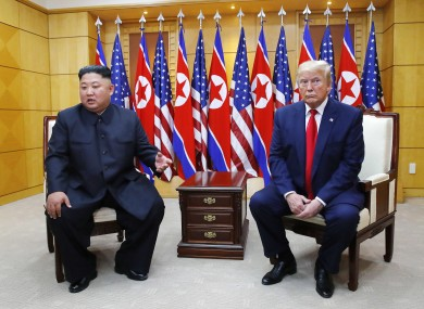 President Donald Trump, with North Korean leader Kim Jong Un in June this year.