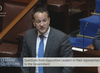Taoiseach Leo Varadkar speaking during Leaders' Questions in the Dáil today.