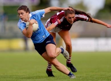 Noelle Healy facing Galway's Áine McDonagh last year.