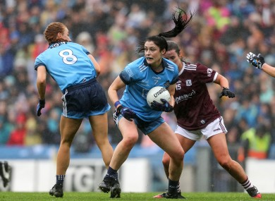 Dublin's Olwen Carey and Lauren Magee face Roisin Leonard.