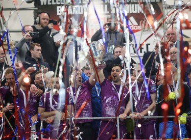 Dundalk celebrate their first piece of silverware of the season.
