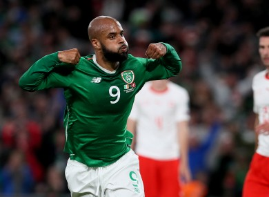 David McGoldrick celebrates after scoring for Ireland against Switzerland earlier this month.