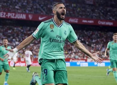 Karim Benzema celebrates his winner.