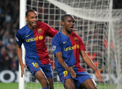 Eto'o scored in two Champions League finals for Barcelona.