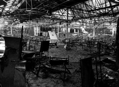 The remains of the Stardust nightclub in the aftermath of the fire, 14 February 1981