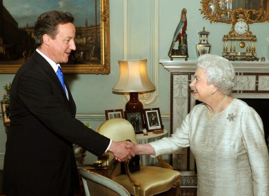 Prime Minister David Cameron in an audience with Queen Elizabeth II in May 2010.