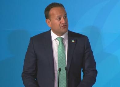 Taoiseach Leo Varadkar making a speech at the UN climate summit this evening