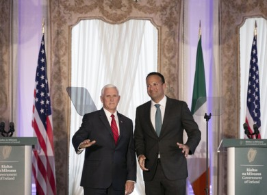 Mike Pence and Leo Varadkar at Farmleigh House in Dublin on Tuesday.