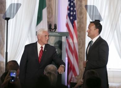 Mike Pence and Taoiseach Leo Varadkar  at Farmleigh House in Dublin on Tuesday.