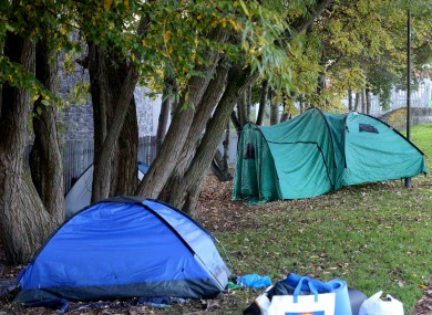 File photo of tents along the Royal Canal in Dublin.