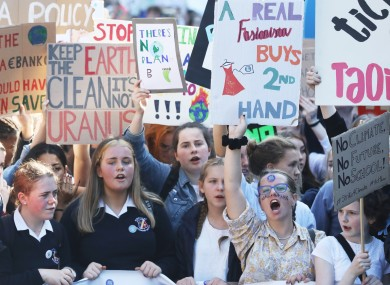 Students at recent climate strike demonstrations in Dublin.