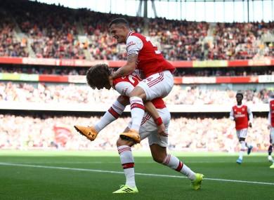 Arsenal's David Luiz celebrates scoring his sides first goal.