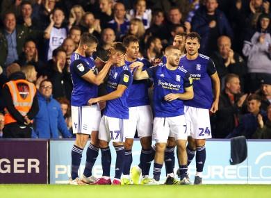 Birmingham celebrate their opening goal.