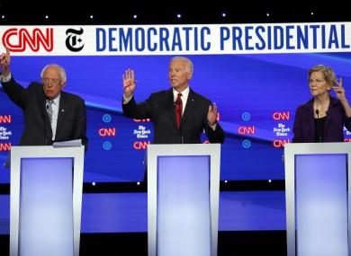 Senator Bernie Sanders,former Vice President Joe Biden and Senator Elizabeth Warren at the debate last night.