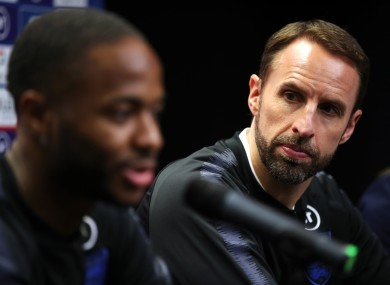 Southgate and Sterling at this evening's press conference in Prague.