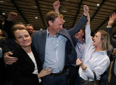 Barry Andrews celebrates after winning a seat in May's election.