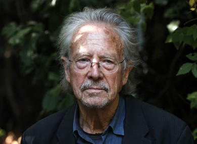 Austrian author Peter Handke at his house in Chaville near Paris yesterday.