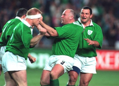 Terry Kingston's headband works as a 'censored' badge for Gary Halpin's post-try celebration.