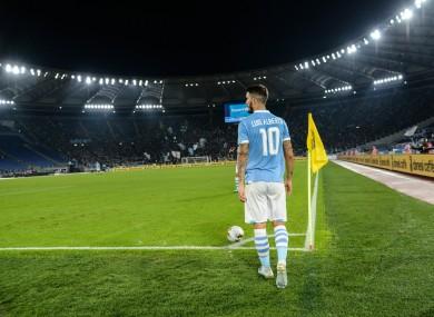 A general view of Lazio's Luis Alberto taking a corner at the Stadio Olimpico.