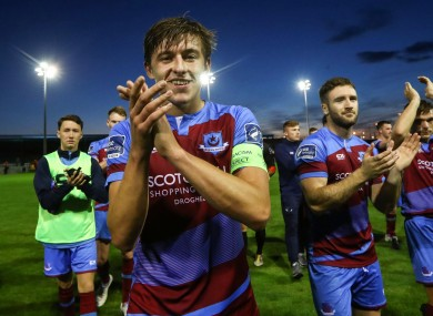 Drogheda captain Jake Hyland pictured above with his team-mates.