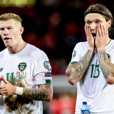 James McClean and Jeff Hendrick react at full-time.