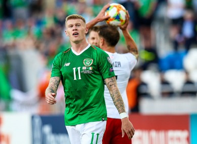 James McClean shows his frustration.