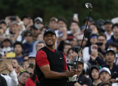 Sunday attire: Woods at the Zozo Championship this morning.