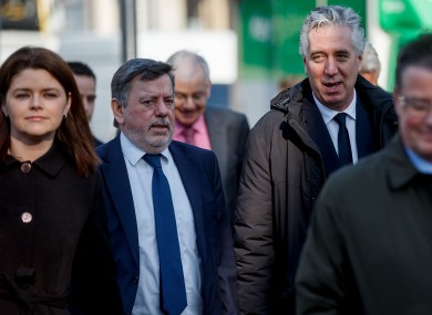Rea Walshe, Donal Conway and John Delaney arrive for an appearance before the Oireachtas Commitee in March.
