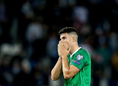 Ireland's John Egan pictured at the final whistle.