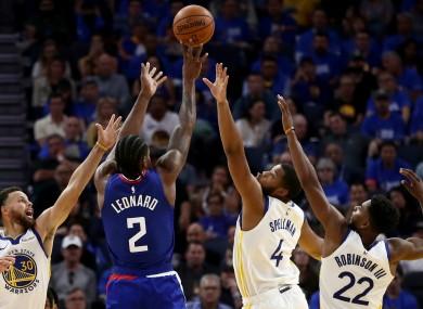 Kawhi Leonard in action against the Golden State Warriors.