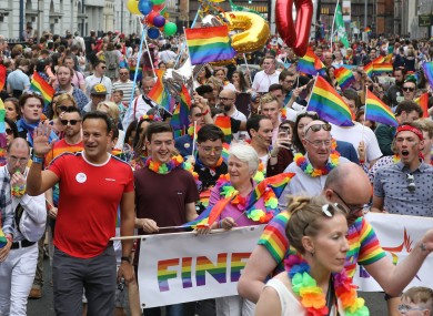 Government ministers, including the justice minister, attend the pride parade in Dublin.